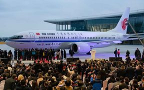 The first airplane of the Boeing 737 MAX 8 delivered to Air China.