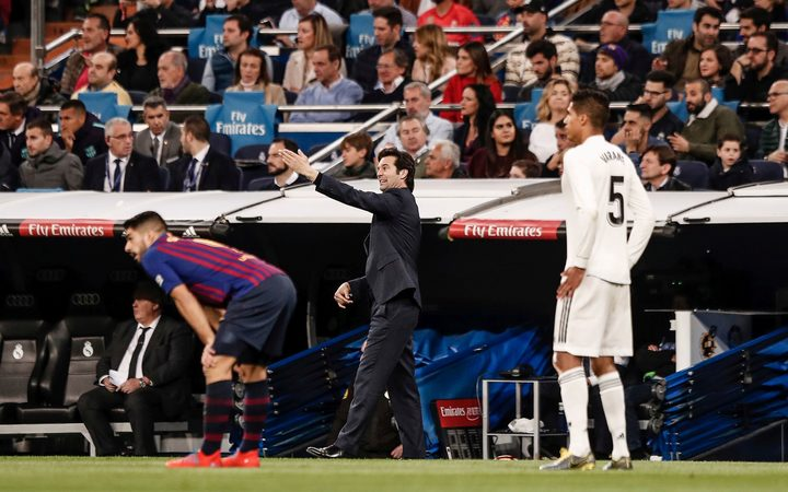 Santiago Solari Coach of Real Madrid  sends in instructions.