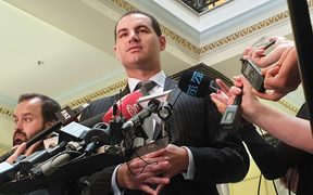 Jami-Lee Ross talks to media after it was revealed the Serious Fraud Office is investigating his complain about National leader Simon Bridges' disclosure of political donations.