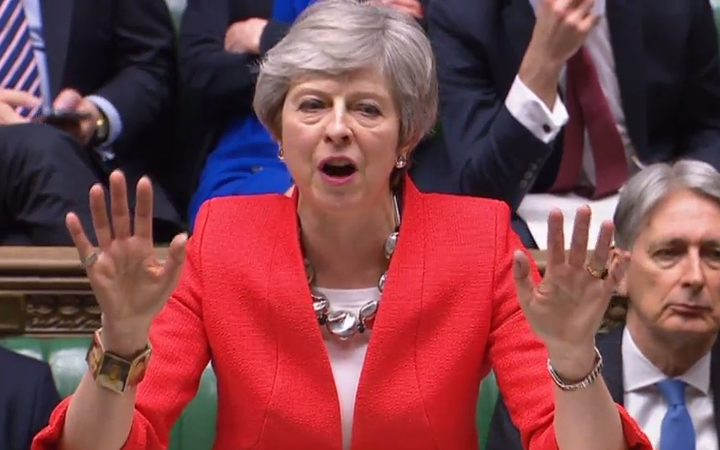 Britain's Prime Minister Theresa May at the start of the debate on the second meaningful vote on the government's Brexit deal, in the House of Commons in London.