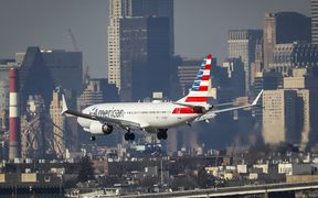American Airlines Boeing 737 Max 8, on a flight from Miami to New York City, lands at LaGuardia Airport on Monday morning, March 11, 2019
