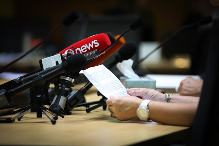 A submitter reads their written submission to a select committee and a lot of media microphones. Tissues on the table indicate the topic is sensitive.