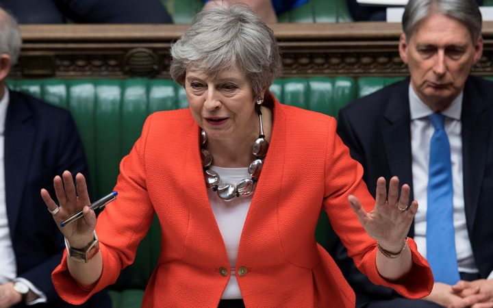 Britain's Prime Minister Theresa May speaking at the start of the debate on the second meaningful vote on the government's Brexit deal.