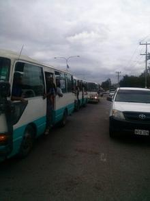 Busloads of protestors arrive in Port Moresby