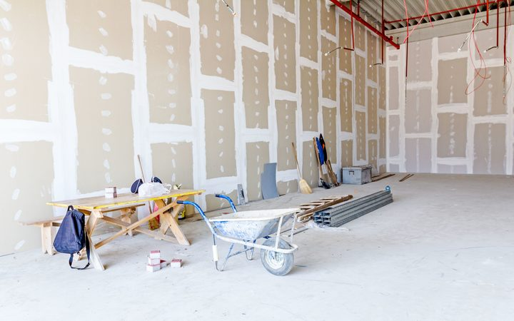 Building materials, plaster board wheel barrow, construction.