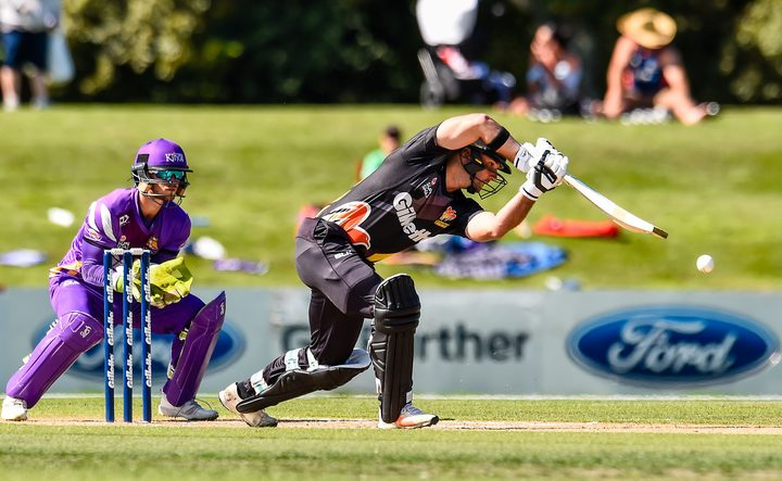 Luke Woodcock in T20 action for Wellington.