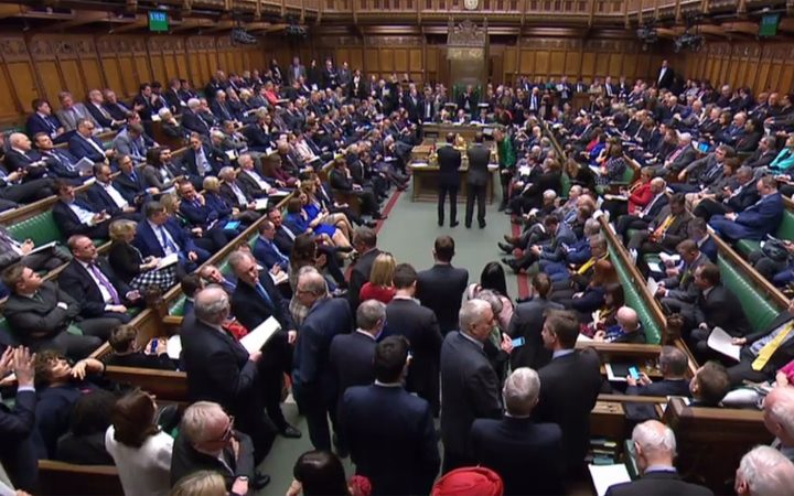 A video grab from footage broadcast by the UK Parliament's Parliamentary Recording Unit (PRU) shows a packed House of Commons in London on March 14, 2019 as members of parliament vote on ammendments to a motion on delaying the date of leaving the EU