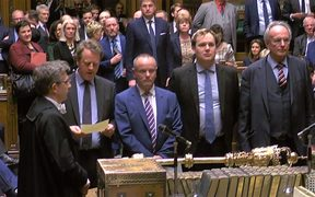 UK Parliament tellers, Conservative MPs (from left)  Alister Jack, Mike Freer, William Wragg and Peter Bone delivering the result of vote on a government motion on whether to seek a delay in the date of leaving the EU.