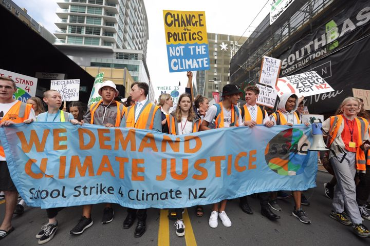 Students in Wellington marched to Parliament to protest against climate change.
