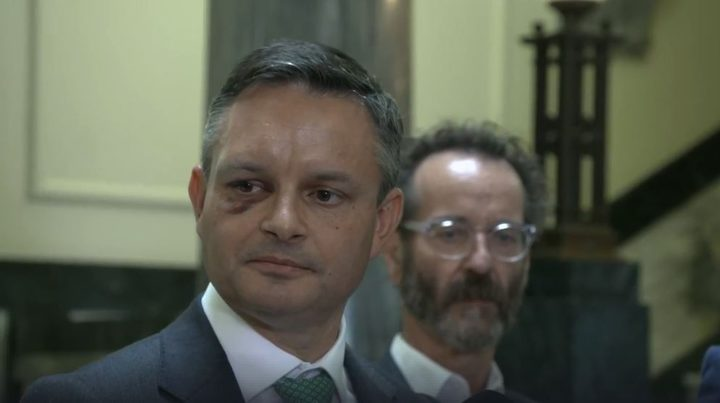Green Party co-leader James Shaw is speaking in Parliament after he suffered a broken eye socket in an attack yesterday.