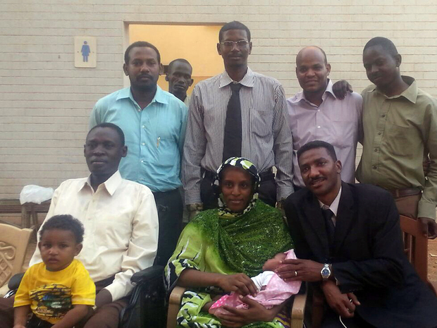 Meriam Ibrahim with her family and legal team after her release.