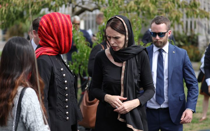 Jacinda Ardern at a local community meeting in Christchurch