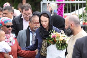 Prime Minister Jacinda Ardern at the Kilbirnie Mosque.