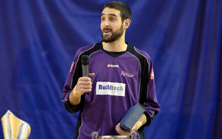 Atta Elayyan with the MVP award of the Futsal League,Futsal National League, Series 3, Auckland, December 2014.