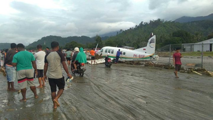 The day after: an airport affected by flash flooding in Papua's Jayapura regency, 16 March 2019.