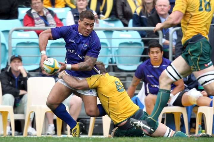 Mahonri Schwalger captained Samoa to victory over the Wallabies.