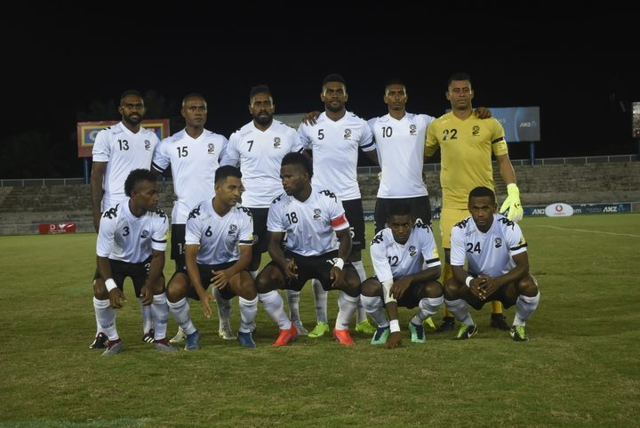 Fiji line-up before kick-off against New Caledonia.