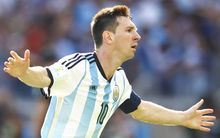 Lionel Messi celebrates his goal for Argentina against Iran at the World Cup.