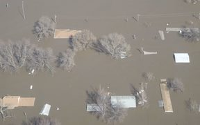 Flooding along the Missouri River in Fremont County, Nebraska.