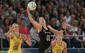 Former Silver Ferns shooter Irene van Dyk catching ball in 2012 Constellation Cup series