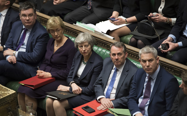 UK Prime Minister Theresa May centre with front bench colleagues