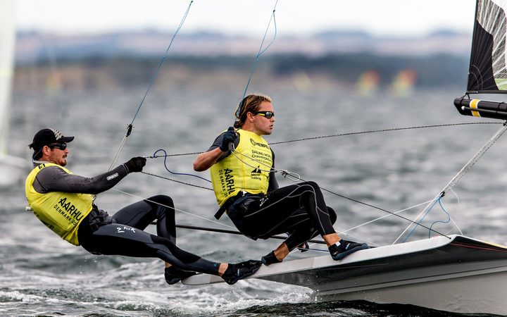 New Zealand 49er sailors Logan Dunning Beck and Oscar Gunn.