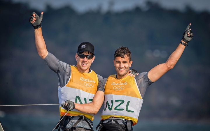New Zealand sailors Peter Burling and Blair Tuke celebrate winning Olympic gold in the 49er class Rio 2016.
