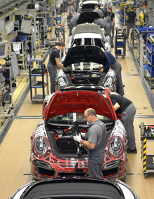 The production line at Porsche's Stuttgart factory.