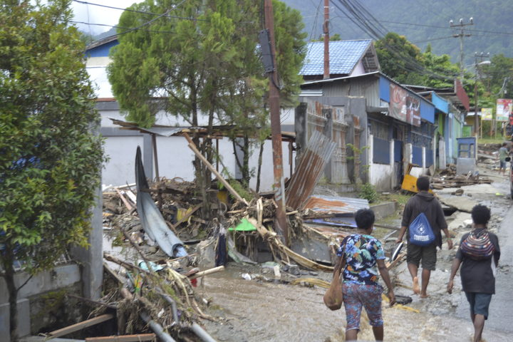 Indonesia, Papua province, Sentai, photos from 18 March 2019. On 16 March 2019, following extremely heavy rain that lasted seven hours, landslides and a flash flood struck the Indonesian province of Papua. Images show debris and damage as flood waters recede.