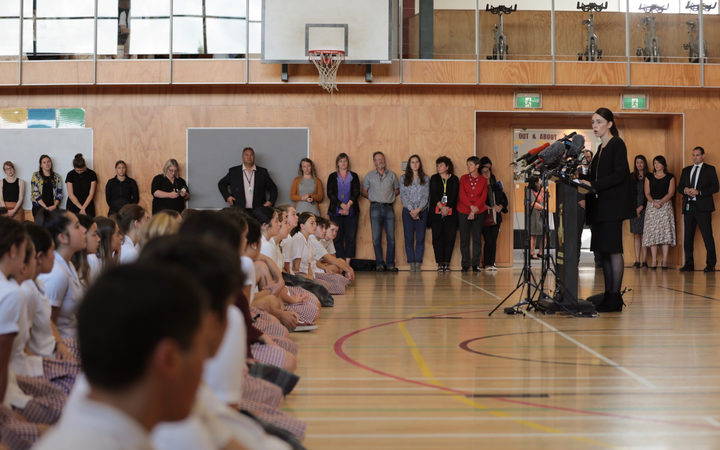 Prime Minister Jacinda Ardern speaking at Cashmere High School.