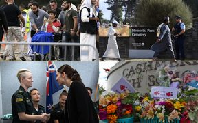(clockwise from top left) Zaid Mustafa at the funeral of his brother and father; mourners arrive at Memorial Park Cemetery, a tribute at Cashmere High School; Jacinda Ardern meets first responders.