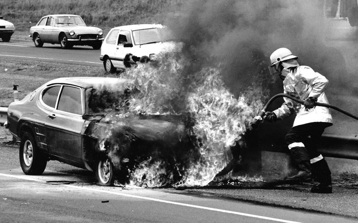 Brett Gonzo How putting out his first fire on the Auckland motorway in 1989.
