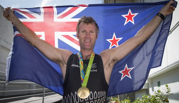 New Zealand's Mahe Drysdale after winning gold in the mens singles at Rio 2016 Olympics.