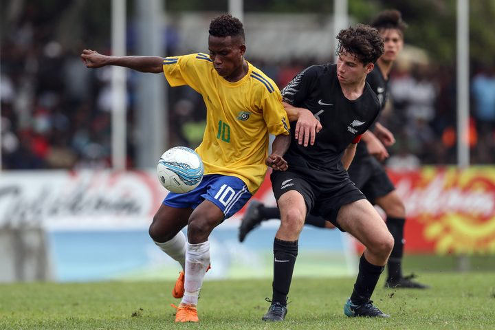 Raphael Le'ai competes for the ball during the OFC Under 16 Championship in 2018.
