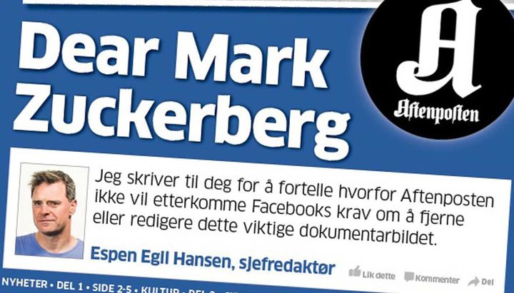Espen Egil Hansen called out Facebook's Mark Zuckerberg in a campaign about censorship of images in 2017.
