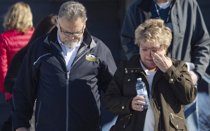 Brad Cross and Marilyn Cross, parents of the Humboldt Broncos assistant coach Mark Cross, walk out of the Kerry Vickar Centre after the sentencing for truck driver Jaskirat Singh Sidhu in Melfort, Sask., Friday, March, 22, 2019.