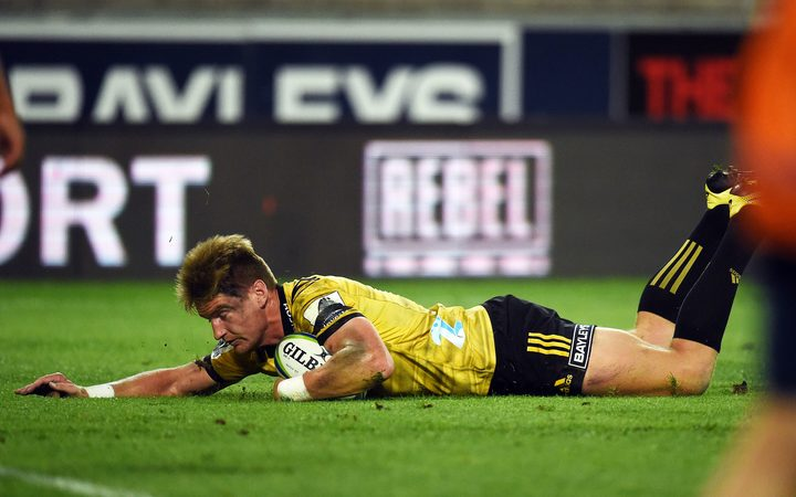 Hurricanes Jordie Barrett scores a try during the 2019 Investec Super Rugby game between Hurricanes vs Stormers, Westpac Stadium, Wellington, Saturday 23rd March 2019.