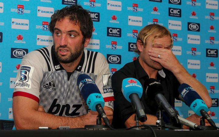 Crusaders captain Sam Whitelock and coach Scott Robertson following the 20-12 defeat to the Waratahs in Sydney.