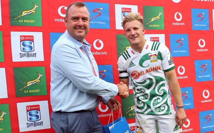 Chiefs fullback Damian McKenzie receives the man of the match award after guiding his side to a resounding 56-20 win over the Bulls in Pretoria