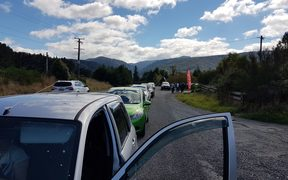 The Kaitoke side of the police roadblock on SH2 over the Remutaka hill.