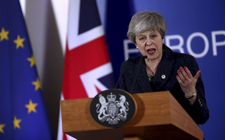 British Prime Minister Theresa May speaks during a media conference at an EU summit in Brussels, Friday, March 22, 2019.