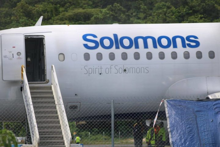 Airlines Airbus A320 lands at Munda airport, Western Province, Solomon Islands