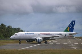 Solomon Airlines Airbus A320 taxiing at Munda Airport, Western Province, Solomon Islands