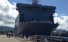 HMNS Canterbury is the first New Zealand ship to berth at Pearl Harbour in 30 years.