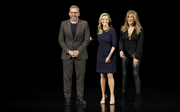 From left, Steve Carell, Reese Witherspoon and Jennifer Aniston at the Apple announcement of its new streaming service.
