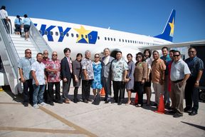Skymark's inaugural flight to Saipan on Friday 22 March 2019