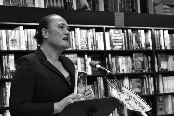 Carmel Sepuloni speaking at Wellington launch of Samoan Queer Lives