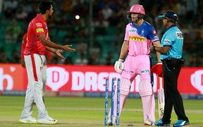 Ravichandran Ashwin of the Kings XI Punjab dismisses Jos Buttler of the Rajasthan Royals by a controversial 'mankad'.