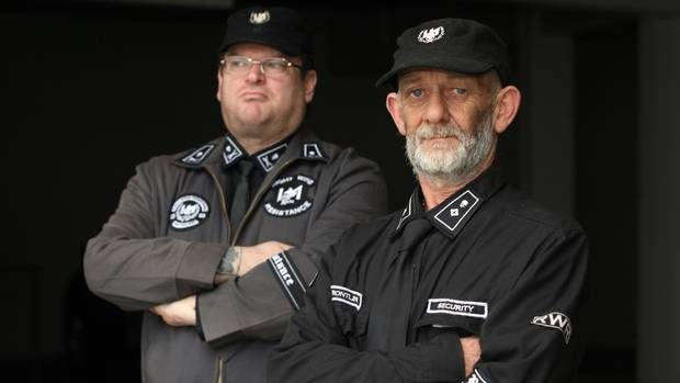 Kyle Chapman (left) and Vaughan Tocker of the Right Wing Resistance Movement. Mr Chapman left after a falling out with the group.