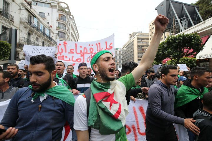 Algerian students demonstrate with national flags in the center of the capital, Algiers in Algeria on March 26, 2019, against the extension of the mandate of President Abdelaziz Bouteflika and demanding an immediate change.